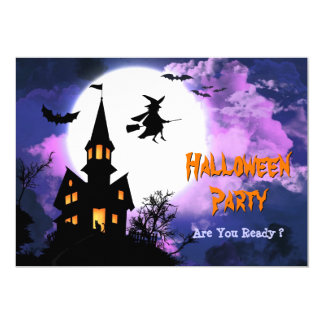 Scary Haunted Castle Flying Witch Halloween Party Card