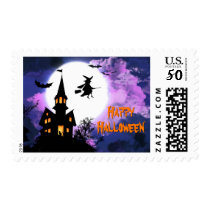 Scary Haunted Castle Flying Witch Happy Halloween Postage