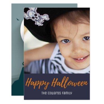 Halloween Themed Scary Haunted House Full Moon Halloween Photo Card