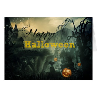 Scary Haunted House Graveyard Crow Halloween Card
