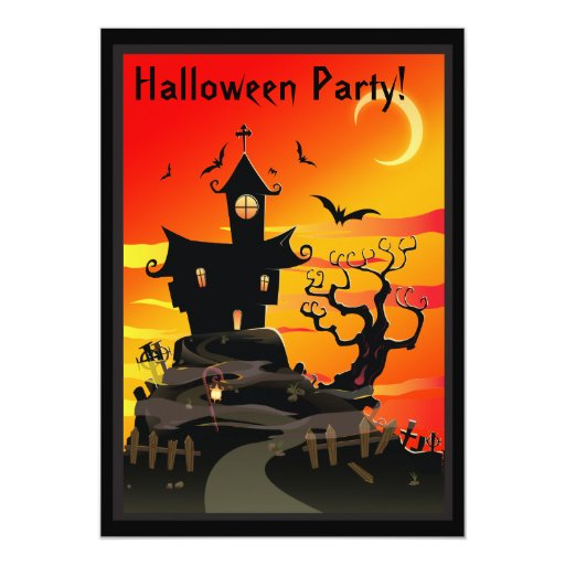 Scary Haunted House Halloween Party Invitation