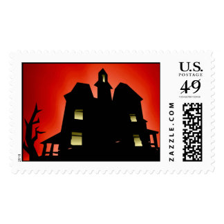Scary Haunted House Halloween Stamps