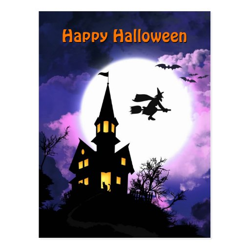 Scary Haunted House  Happy Halloween Postcards