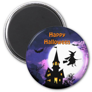 Scary Haunted House with Witch - Happy Halloween 2 Inch Round Magnet