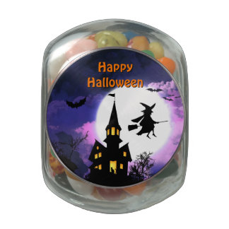 Scary Haunted House with Witch - Happy Halloween Glass Jars