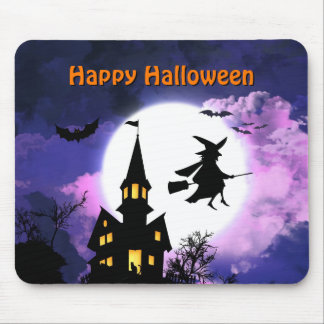 Scary Haunted House with Witch - Happy Halloween Mouse Pad