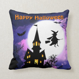 Scary Haunted House with Witch - Happy Halloween Throw Pillow