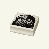 Scary hooded  monster rubber stamp