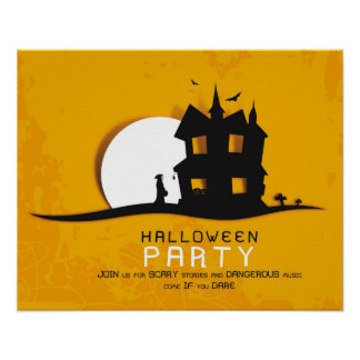Scary House & Full Moon Halloween Party Invitation Poster
