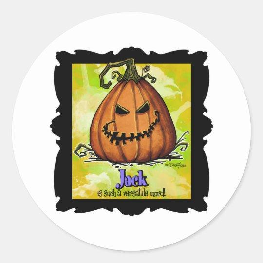 Scary Jack o Lantern Classic Round Sticker