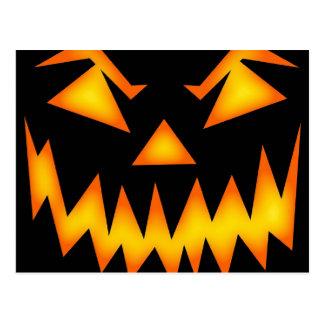 Scary Jack O Lantern Face Postcard