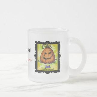 Scary Jack o Lantern Frosted Glass Coffee Mug