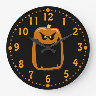 Scary Jack O Lantern Halloween Custom Clock Black