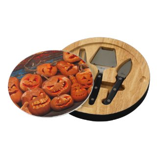 Scary Jack O Lantern Halloween Pumpkins 2 Round Cheese Board