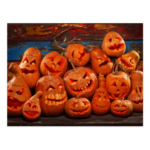 Scary Jack O Lantern Halloween Pumpkins 2 Post Cards