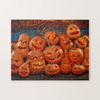 Scary Jack O Lantern Halloween Pumpkins 2 Puzzle