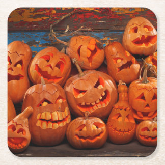 Scary Jack O Lantern Halloween Pumpkins 2 Square Paper Coaster