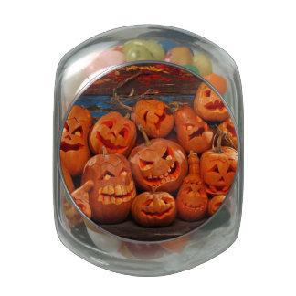 Scary Jack O Lantern Halloween Pumpkins 3 Jelly Belly Candy Jars