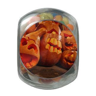 Scary Jack O Lantern Halloween Pumpkins Glass Candy Jars