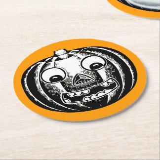 Scary Jack-o-Lantern Round Paper Coaster