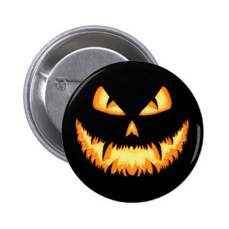 Scary Jack O Lantern with an evil grin and hungry 2 Inch Round Button