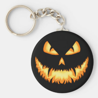 Scary Jack O Lantern with an evil grin and hungry Basic Round Button Keychain