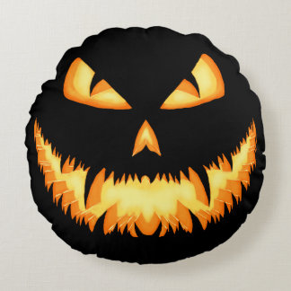 Scary Jack O Lantern with an evil grin and hungry Round Pillow