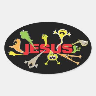 Scary Jesus Oval Sticker