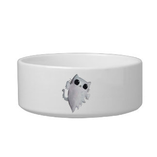 Scary Kitty Cat Ghost Pet Bowls