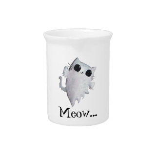 Scary Kitty Cat Ghost Pitchers