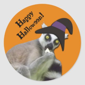 Scary Lemur in a Witch Hat Halloween Stickers