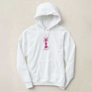 Scary Light Pink Cat With Lavender Purple Eyes Embroidered Hoodie