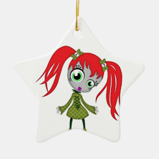 Scary Little Creepy Girl Ceramic Ornament