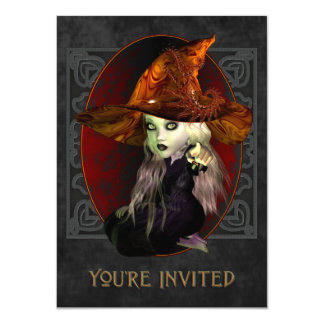 Scary Little Witch Halloween Party Invitation