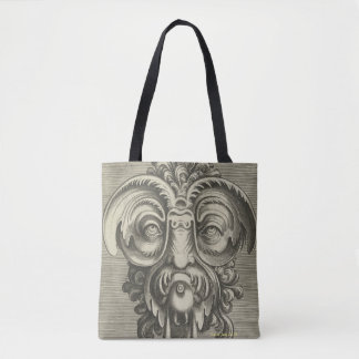 Scary mask, face in black & white tote bag