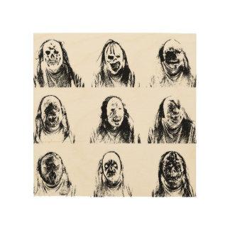 Scary Masks Wood Wall Decor