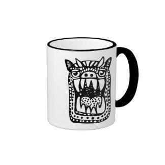 Scary Monster - Black Ringer Mug