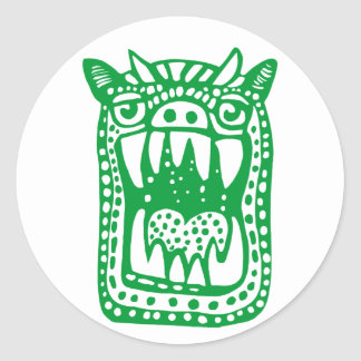 Scary Monster - Green Classic Round Sticker