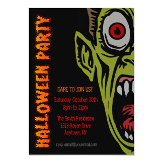 "Scary Monster Halloween Party Invite 5"" X 7"" Invitation Card"