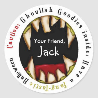 Scary MONSTER Mouth Fangs Halloween Treat Stickers
