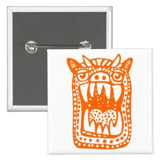 Scary Monster - Orange Pinback Button
