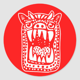 Scary Monster - Red Classic Round Sticker