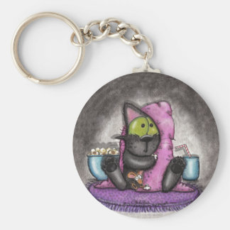 Scary Movie Night-Cat and Mouse Basic Round Button Keychain