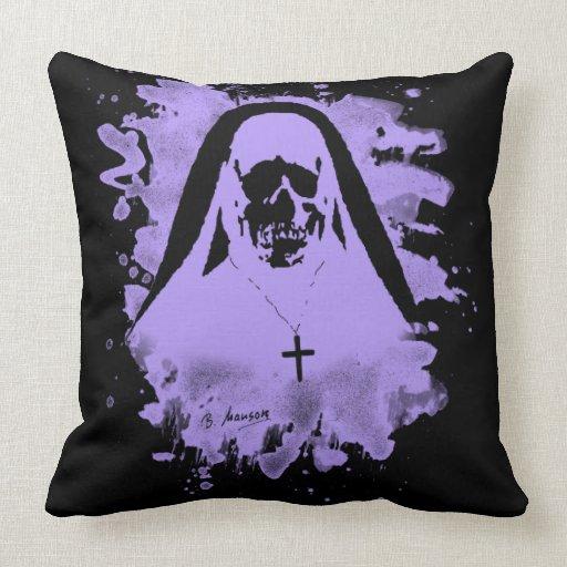 Scary now - violet throw pillow Zazzle