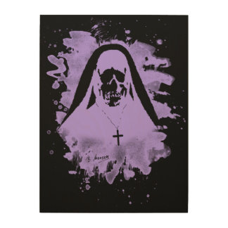 Scary now - violet wood wall decor