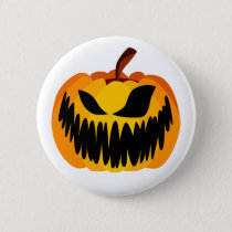 Scary Orange Halloween Pumpkin Button
