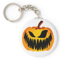 Scary Orange Halloween Pumpkin Keychain