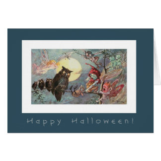 Scary Owls and Fairies by Maybank - Halloween Greeting Card