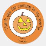Scary Pumpkin Custom Halloween Party Stickers