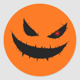 Scary Pumpkin Face Classic Round Sticker